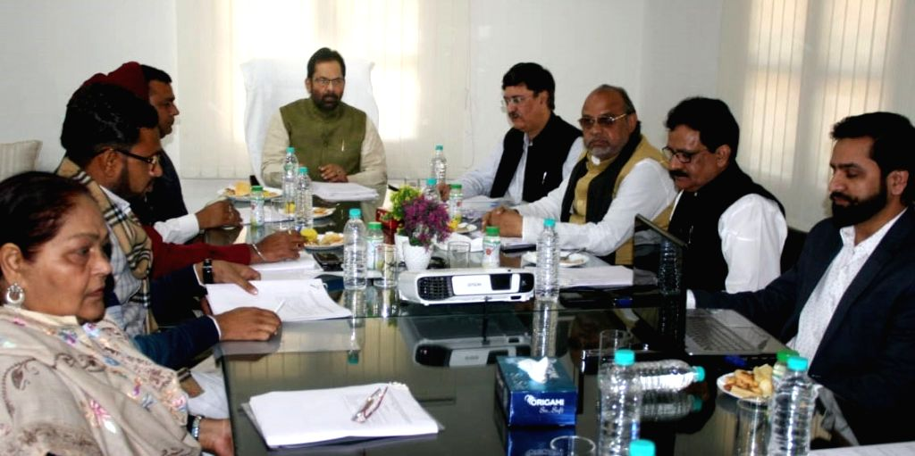Union Minister for Minority Affairs Mukhtar Abbas Naqvi chairs the Governing and General Body meeting of Maulana Azad Education Foundation, in New Delhi on March 5, 2019.