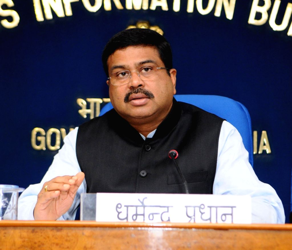 Union Minister for Petroleum and Natural Gas and Skill Development and Entrepreneurship Dharmendra Pradhan addresses a press conference on PNG matters in New Delhi on Feb 13, 2018.
