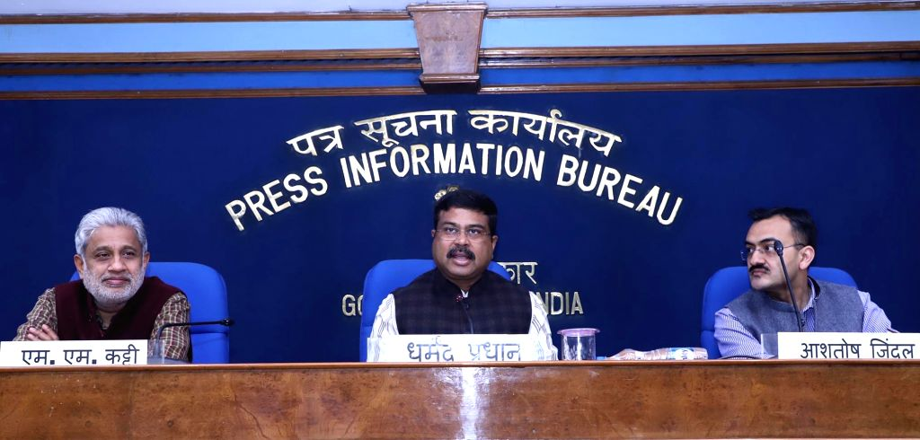 Union Minister for Petroleum & Natural Gas and Skill Development & Entrepreneurship Dharmendra Pradhan addresses a press conference after handing over of the 7th crore connection ...