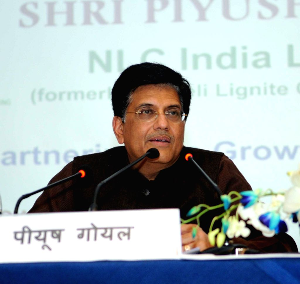 Union Minister for Railways and Coal Piyush Goyal addresses a press conference on Neyveli Lignite Corporation in New Delhi on Feb 13, 2018.
