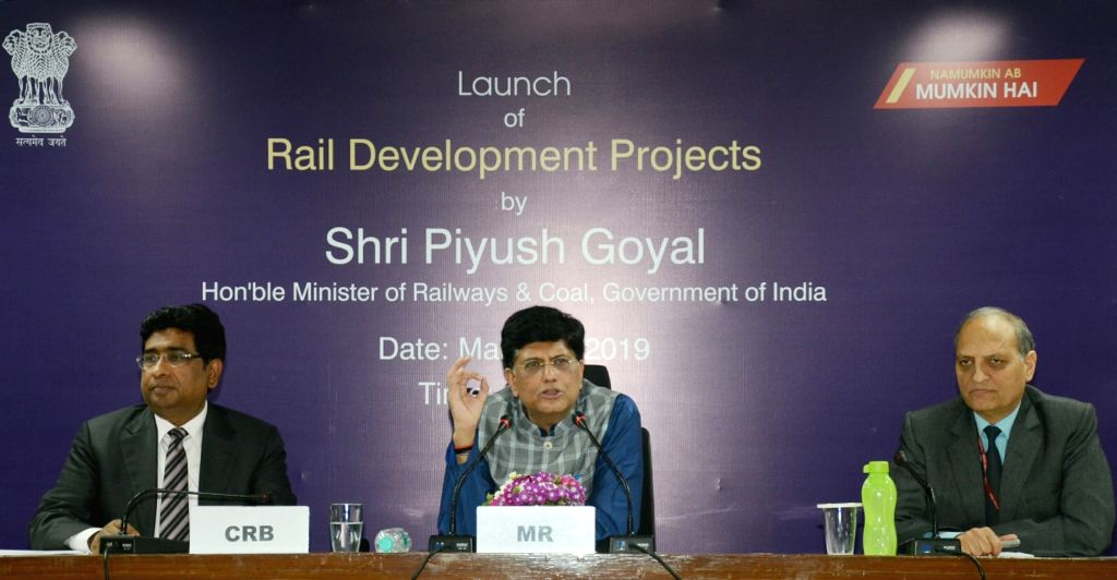 Union Minister for Railways and Coal Piyush Goyal addresses at the launch of the several Rail Development Projects, in New Delhi on March 8, 2019. Also seen Railway Board Chairman Vinod ... - Vinod Kumar Yadav