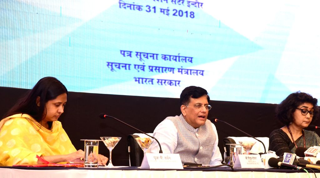 Union Minister for Railways, Coal, Finance and Corporate Affairs Piyush Goyal addresses a press conference in Indore on May 31, 2018.