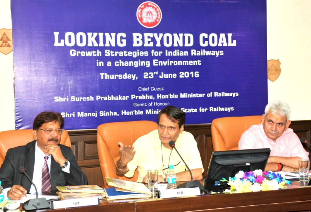 """Union Minister for Railways Suresh Prabhu addresses at a Seminar """"Looking Beyond Coal"""" - Growth Strategies for Indian Railways in a changing Environment, in New Delhi on June 23, ... - Suresh Prabhu and Manoj Sinha"""