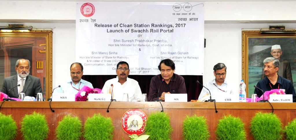 Union Minister for Railways Suresh Prabhu addresses at the release of the Third Party Audit Report on Station Cleanliness and inauguration of the Swachh Rail Portal in New Delhi on May 17, ... - Suresh Prabhu