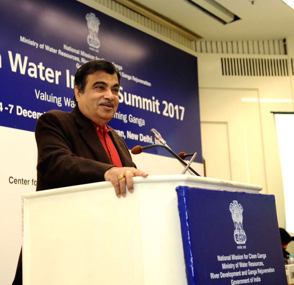 Union Minister for Road Transport and Highways, Shipping and Water Resources, River Development and Ganga Rejuvenation Nitin Gadkari addresses at the India Water Impact Summit 2017 in New ...