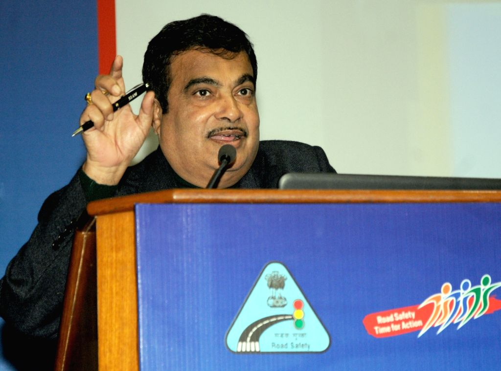 Union Minister for Road Transport & Highways and Shipping Nitin Gadkari addresses at the National Meet of NGOs on Road Safety, in New Delhi on Jan 14, 2016.