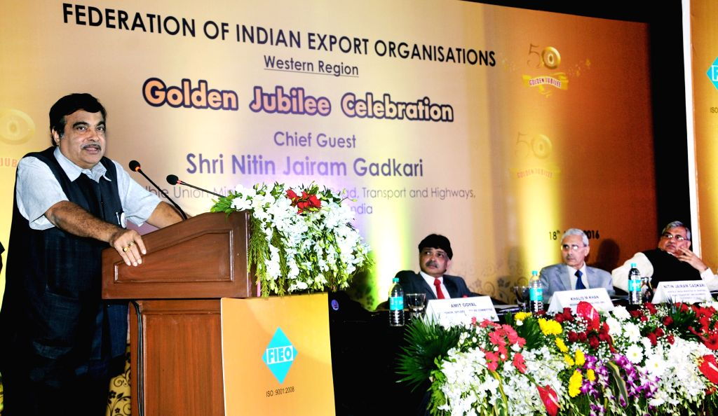 """Union Minister for Road Transport & Highways and Shipping Nitin Gadkari addresses on occasion of the Golden Jubilee Celebration of Federation of Indian Export Organisations"""" (FIEO), in Mumbai ..."""