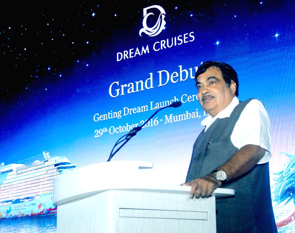 "Union Minister for Road Transport & Highways and Shipping Nitin Gadkari addresses during the launch of the ""Genting Dream"" dream cruises in Mumbai on Oct 29, 2016."