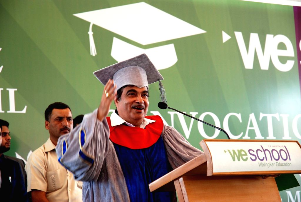Union Minister for Road Transport & Highways and Shipping Nitin Gadkari addresses at the We School Convocation ceremony, in Mumbai, on March 16, 2017.
