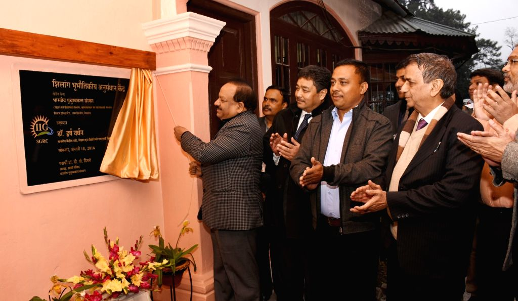 Union Minister for Science and Technology and Earth Sciences, Dr. Harsh Vardhan unveils the plaque to inaugurate the Shillong Geophysical Research Center of the Indian Institute of ...