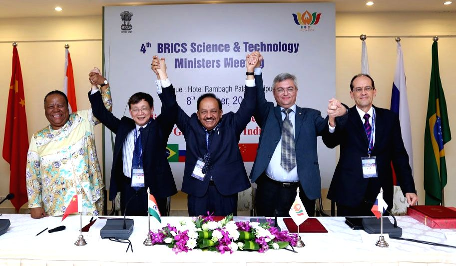 Union Minister for Science and Technology and Earth Sciences, Dr. Harsh Vardhan with the Vice Minister for Science, Technology and Innovation of Brazil Álvaro Toubes Prata, Deputy Minister ... - Meeting