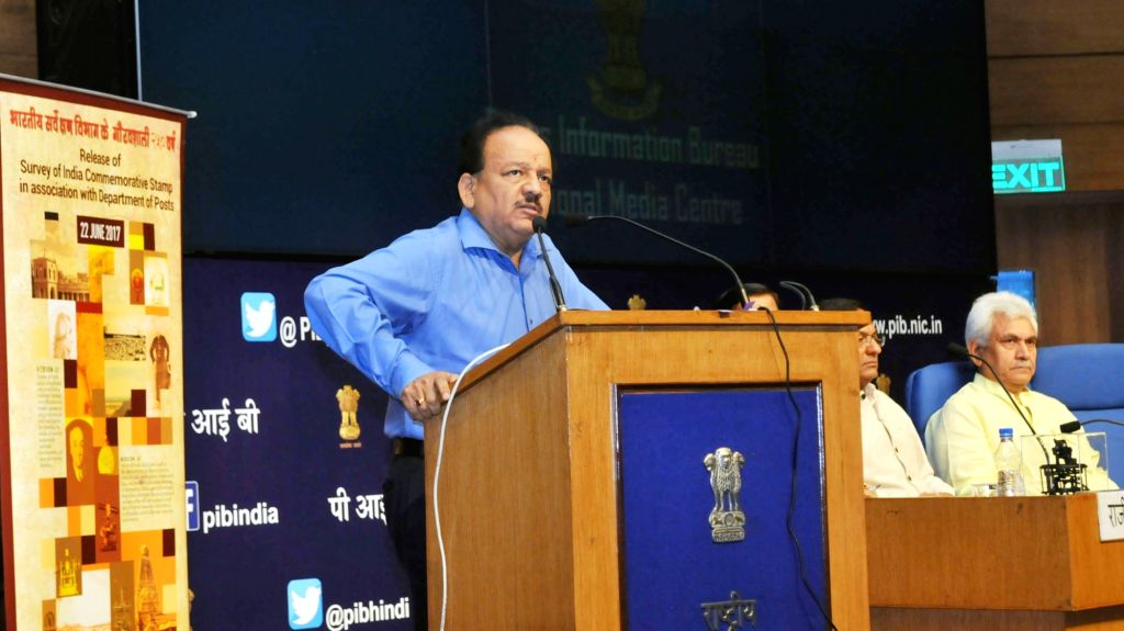 """Union Minister for Science and Technology, Earth Sciences and Environment, Forest and Climate Change, Dr. Harsh Vardhan addresses at the launch of the web-portal of """"VAJRA"""" ... - Manoj Sinha"""