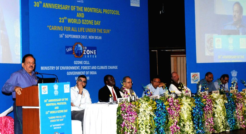 Union Minister for Science and Technology, Earth Sciences and Environment, Forest and Climate Change Harsh Vardhan addresses at the 23rd World Ozone Day celebrations and 30th Anniversary ...