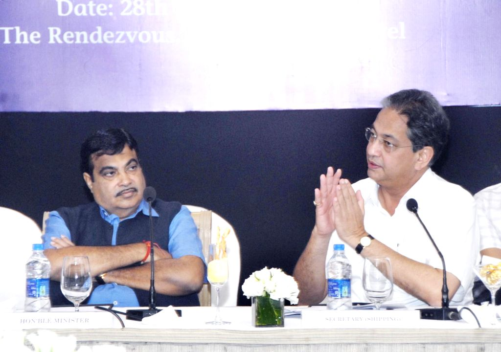 Union Minister for Shipping, and Road Transport and Highways Nitin Gadkari at a review meeting of major ports, in Mumbai on July 28, 2014.