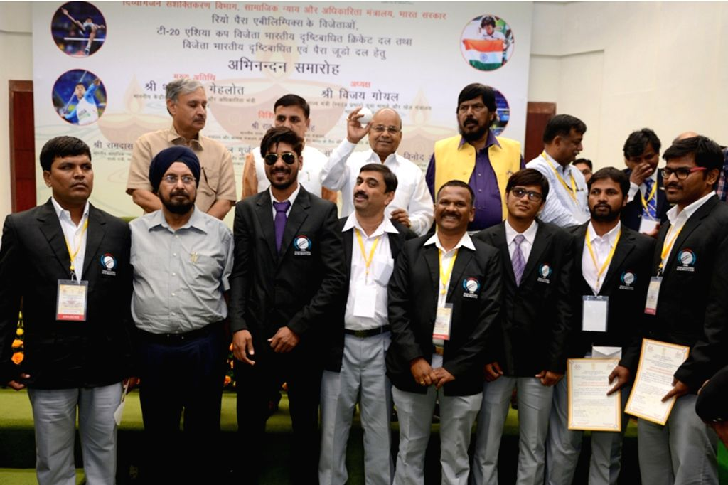 Union Minister for Social Justice and Empowerment Thaawar Chand Gehlot releases the ball for T20 World Cup Cricket for the Blind 2017 in during a felicitation ceremony organised by the ...