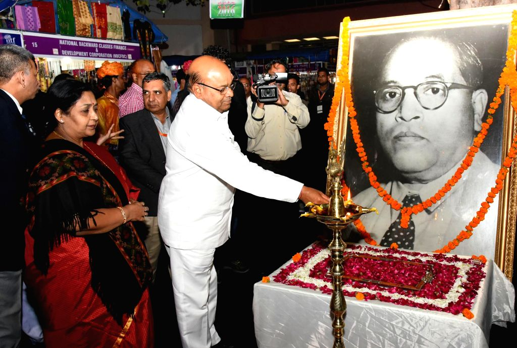 Union Minister for Social Justice and Empowerment Thaawar Chand Gehlot inaugurates the 'Stalls of Corporations' of the Ministry of Social Justice & Empowerment in India ...