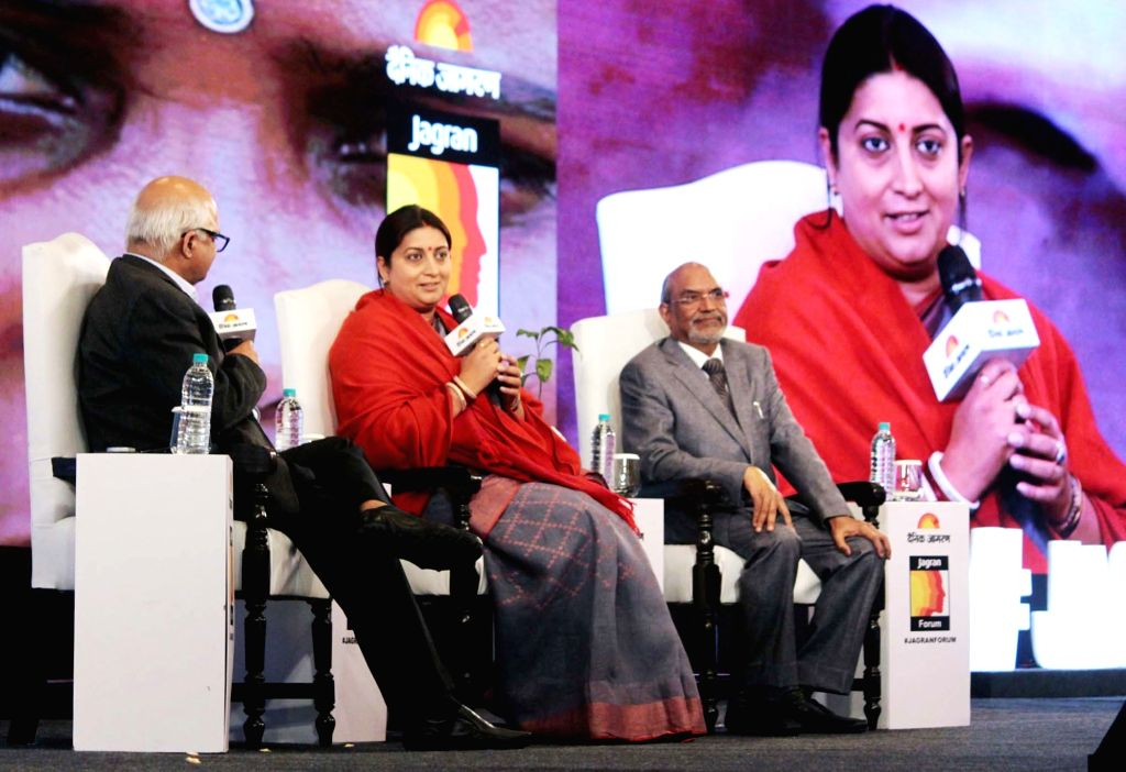 Union Minister for Textiles Smriti Irani addresses at the Jagran Forum, on the occasion of the 75th anniversary celebrations of Dainik Jagran newspaper, in New Delhi on Dec 7, 2018. - Smriti Irani