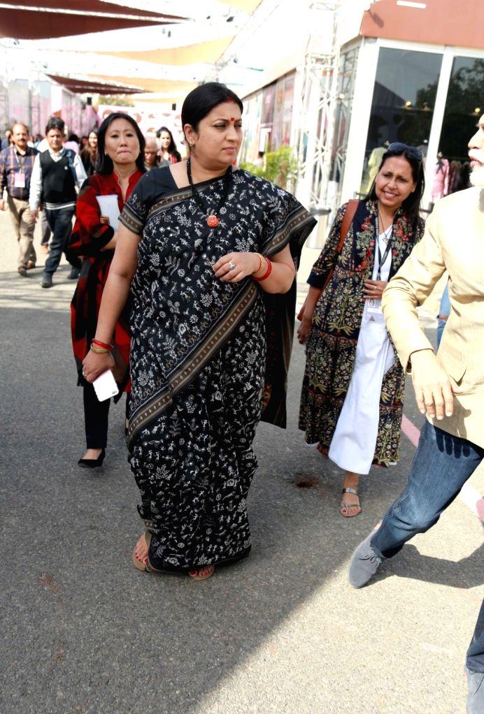 Union Minister for Textiles Smriti Irani arrives to attend the Amazon India Fashion Week, in New Delhi on March 15, 2017. - Smriti Irani