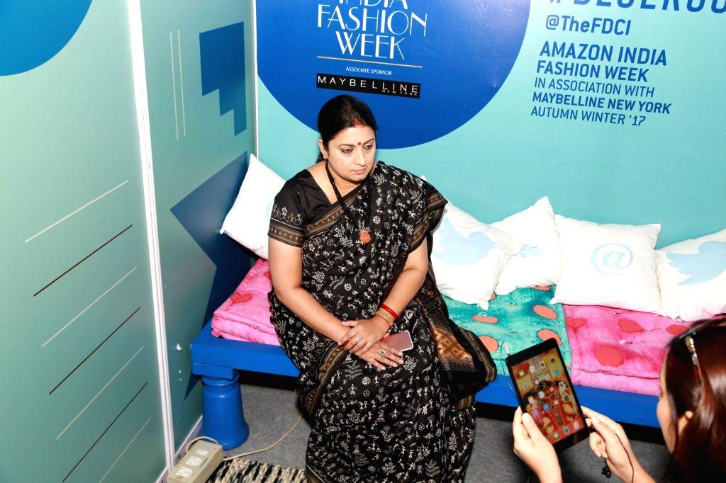Union Minister for Textiles Smriti Irani at Amazon India Fashion Week, in New Delhi on March 15, 2017. - Smriti Irani