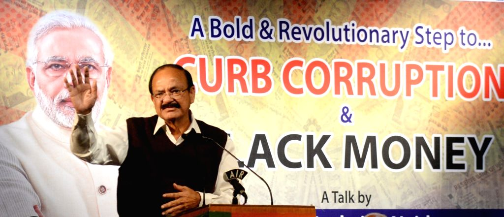 Union Minister for Urban Development and Information & Broadcasting M Venkaiah Naidu addresses during a talk on A Bold & Revolutionary Step to Curb Corruption and Balck Money, in ... - M Venkaiah Naidu