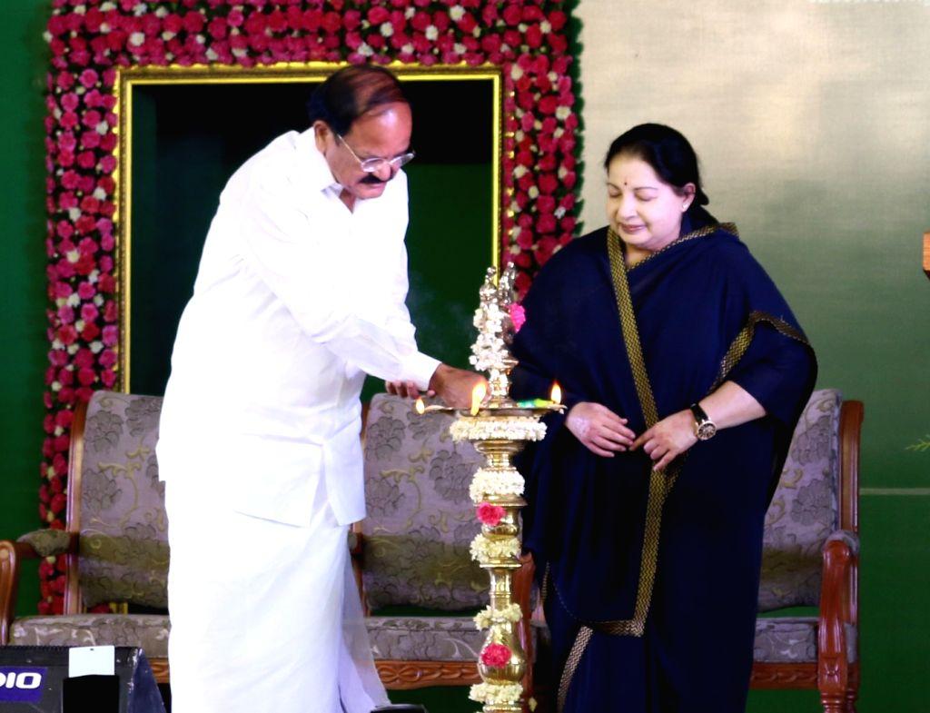 Union Minister for Urban Development, Housing & Urban Poverty Alleviation and Information & Broadcasting M. Venkaiah Naidu and the Chief Minister of Tamil Nadu J. Jayalalithaa ... - M. Venkaiah Naidu