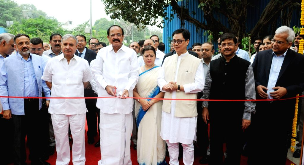 Union Minister for Urban Development, Housing & Urban Poverty Alleviation and Information & Broadcasting, M. Venkaiah Naidu inaugurating the Social Infrastructure (Local shopping ... - M. Venkaiah Naidu and Rao Inderjit Singh
