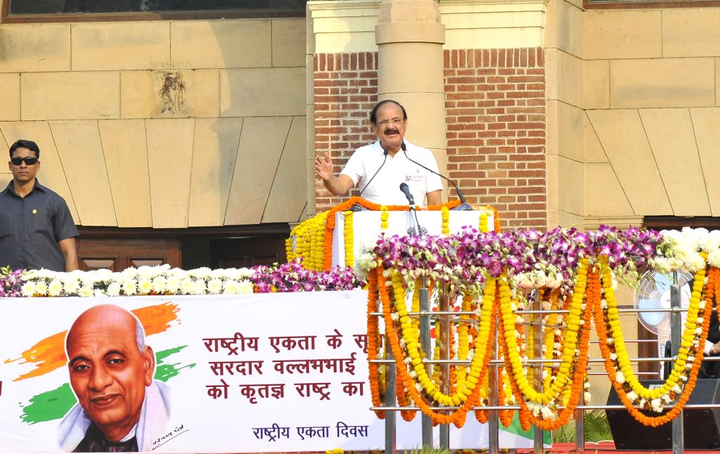 """Union Minister for Urban Development, Housing & Urban Poverty Alleviation and Information & Broadcasting M Venkaiah Naidu addresses during the """"Run for Unity"""" ceremony on ... - M Venkaiah Naidu"""