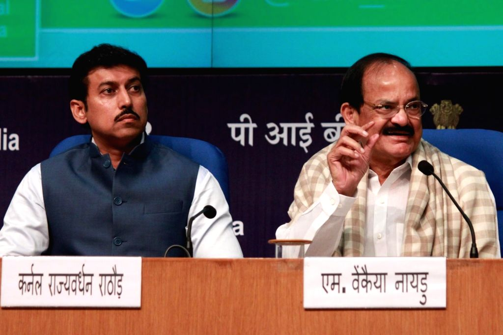 Union Minister for Urban Development, Housing & Urban Poverty Alleviation and Information & Broadcasting M Venkaiah Naidu and Minister of State for Information & Broadcasting, ... - M Venkaiah Naidu and Rajyavardhan Singh Rathore