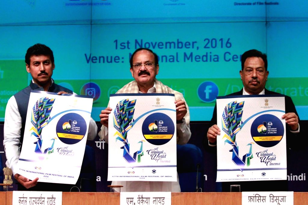 Union Minister for Urban Development, Housing & Urban Poverty Alleviation and Information & Broadcasting M Venkaiah Naidu release the Poster for the IFFI - 2016 during a press ... - Francis Dsouza, M Venkaiah Naidu and Rajyavardhan Singh Rathore