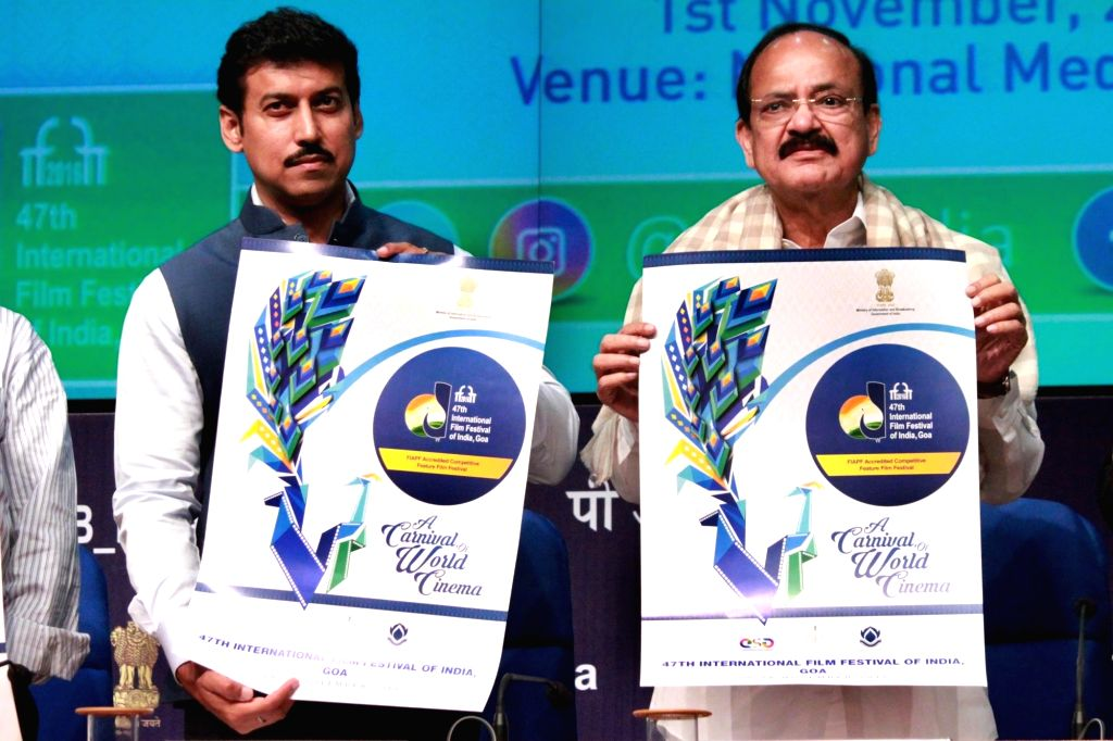Union Minister for Urban Development, Housing & Urban Poverty Alleviation and Information & Broadcasting M Venkaiah Naidu release the Poster for the IFFI - 2016 during a press ... - M Venkaiah Naidu and Rajyavardhan Singh Rathore