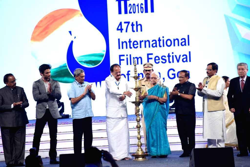 Union Minister for Urban Development, Housing & Urban Poverty Alleviation and Information & Broadcasting M Venkaiah Naidu, Goa Governor Mridula Sinha, the Union Minister for Defence ... - Laxmikant Parsekar, M Venkaiah Naidu, Mridula Sinha and Sushant Singh Rajput