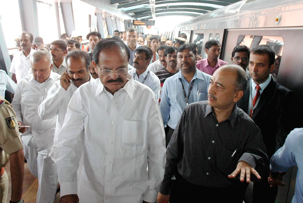 Union Minister for Urban Development, Housing and Urban Poverty Alleviation and Parliamentary Affairs M. Venkaiah Naidu with Karnataka Transport Minister Ramalinga Reddy and others at Sampige Road ... - Ramalinga Reddy
