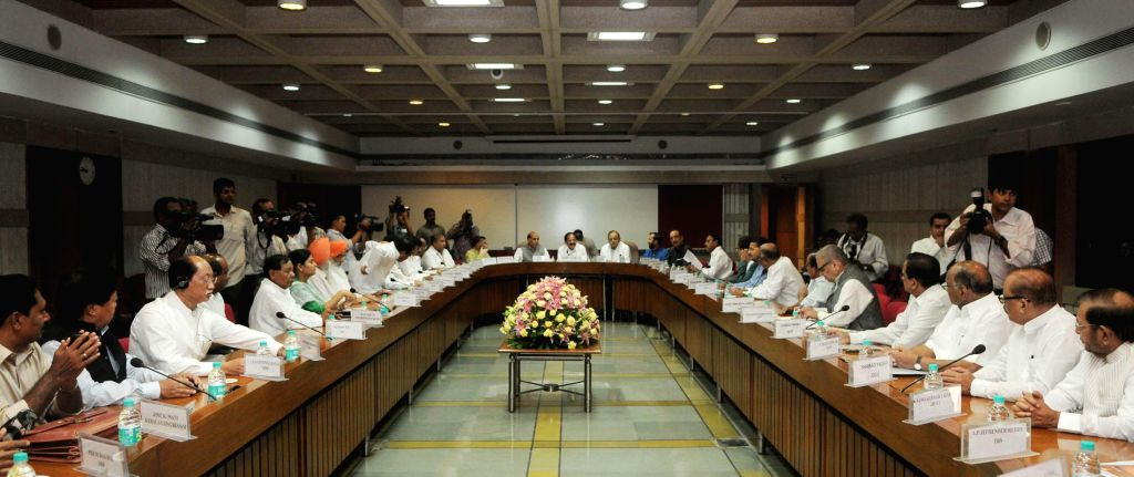 Union Minister for Urban Development, Housing and Urban Poverty Alleviation and Parliamentary Affairs, M. Venkaiah Naidu during a meeting with leaders of all political parties in both the houses of .. - M. Venkaiah Naidu