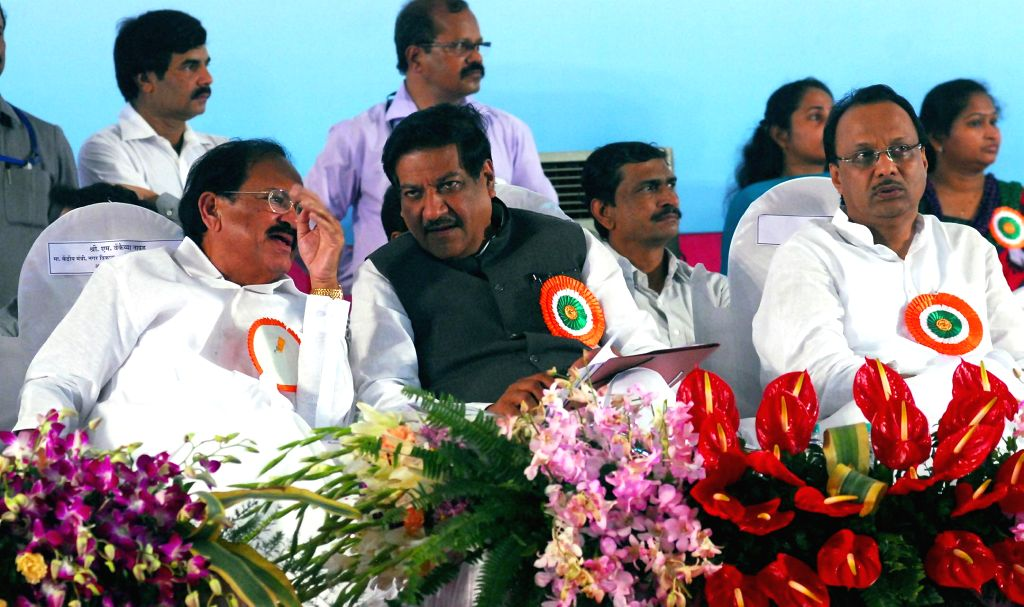 Union Minister for Urban Development, Housing and Urban Poverty Alleviation and Parliamentary Affairs M. Venkaiah Naidu and Maharashtra Chief Minister Prithviraj Chavan during bhoomipoojan of ... - Prithviraj Chavan and M. Venkaiah Naidu
