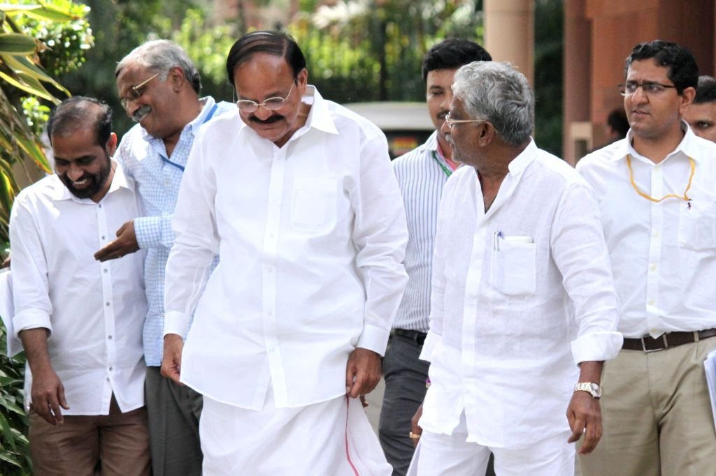 Union Minister for Urban Development, Housing and Urban Poverty Alleviation and Parliamentary Affairs M Venkaiah Naidu after an all party meeting at Parliament House in New Delhi on Aug 3, ... - Venkaiah Naidu