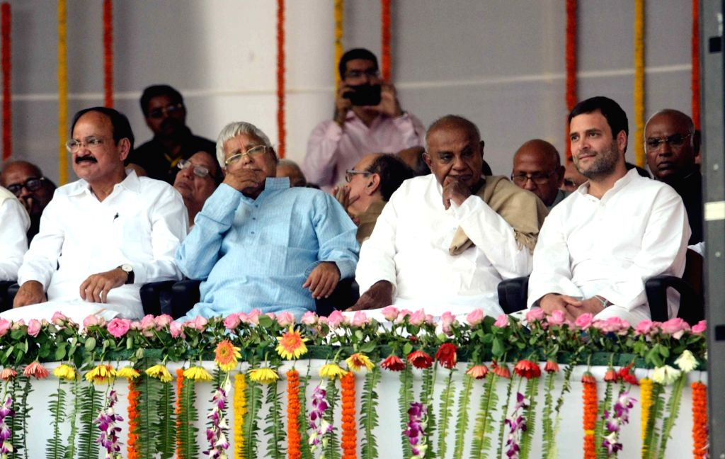 Union Minister for Urban Development, Housing and Urban Poverty Alleviation and Parliamentary Affairs M. Venkaiah Naidu, RJD chief Lalu Prasad Yadav, former Prime Minister HD Deve Gowda and ... - M. Venkaiah Naidu, Lalu Prasad Yadav and Rahul Gandhi