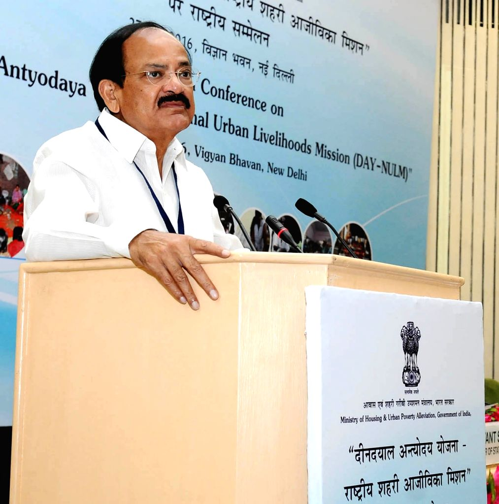Union Minister for Urban Development, Housing and Urban Poverty Alleviation and Parliamentary Affairs M. Venkaiah Naidu addresses at the National Conference on Urban Poverty Alleviation, ... - M. Venkaiah Naidu