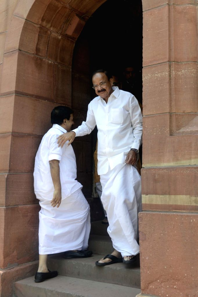 Union Minister for Urban Development, Housing and Urban Poverty Alleviation and and Information and Broadcasting M. Venkaiah Naidu at Parliament in New Delhi, on Aug 4, 2016. - M. Venkaiah Naidu