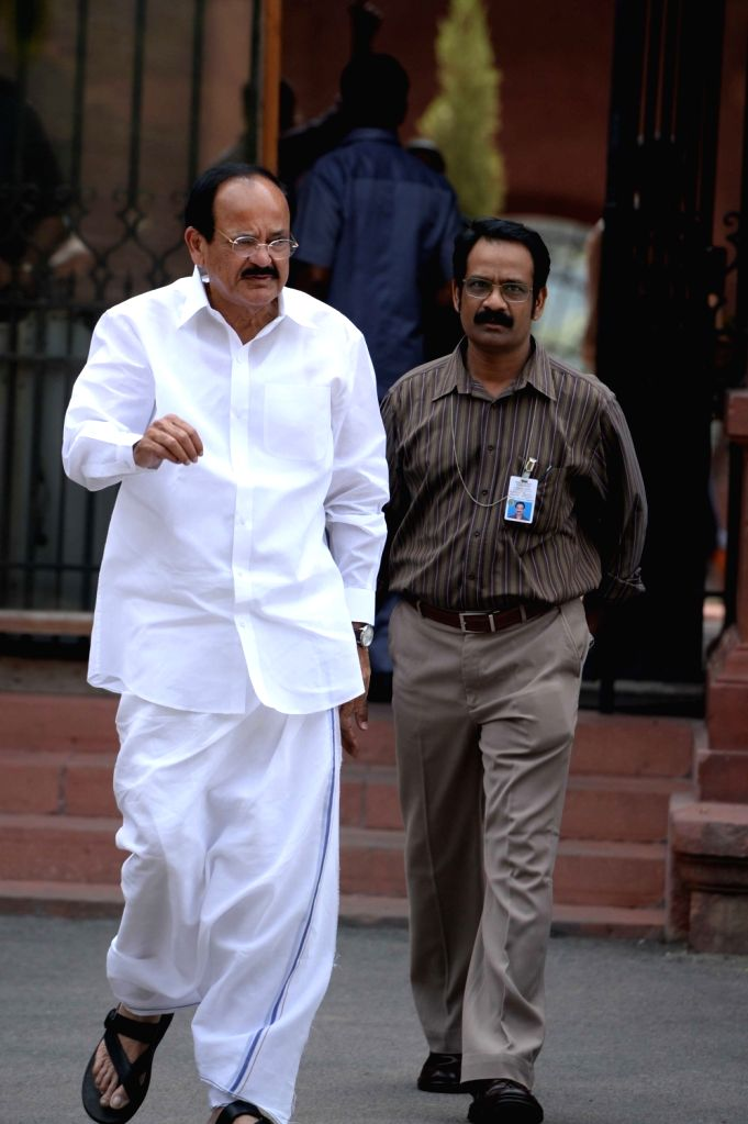Union Minister for Urban Development, Housing and Urban Poverty Alleviation and and Information and Broadcasting M. Venkaiah Naidu comes out after Cabinet Meeting at South Block in New ... - M. Venkaiah Naidu