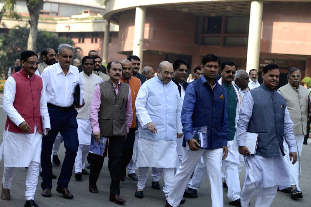 Union Minister for Urban Development, Housing and Urban Poverty Alleviation and Information and Broadcasting M. Venkaiah Naidu comes out after BJP Parliamentary Party meeting at Parliament ... - M. Venkaiah Naidu