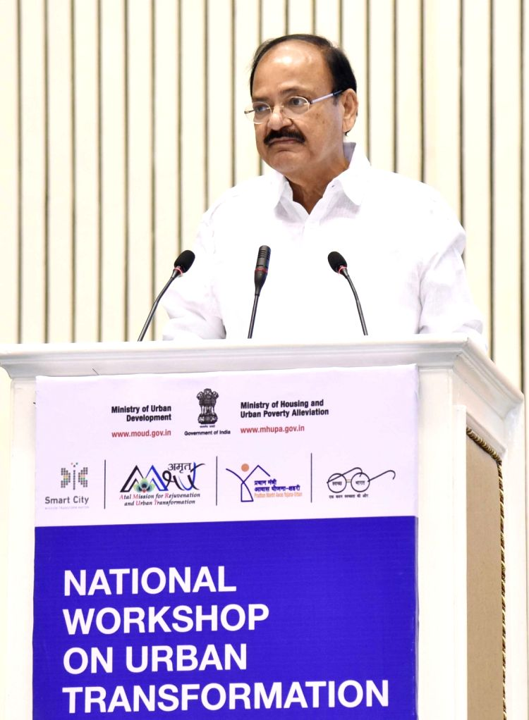 Union Minister for Urban Development, Housing and Urban Poverty Alleviation and Information and Broadcasting M Venkaiah Naidu addresses the National Workshop on Urban Transformation in New ... - M Venkaiah Naidu