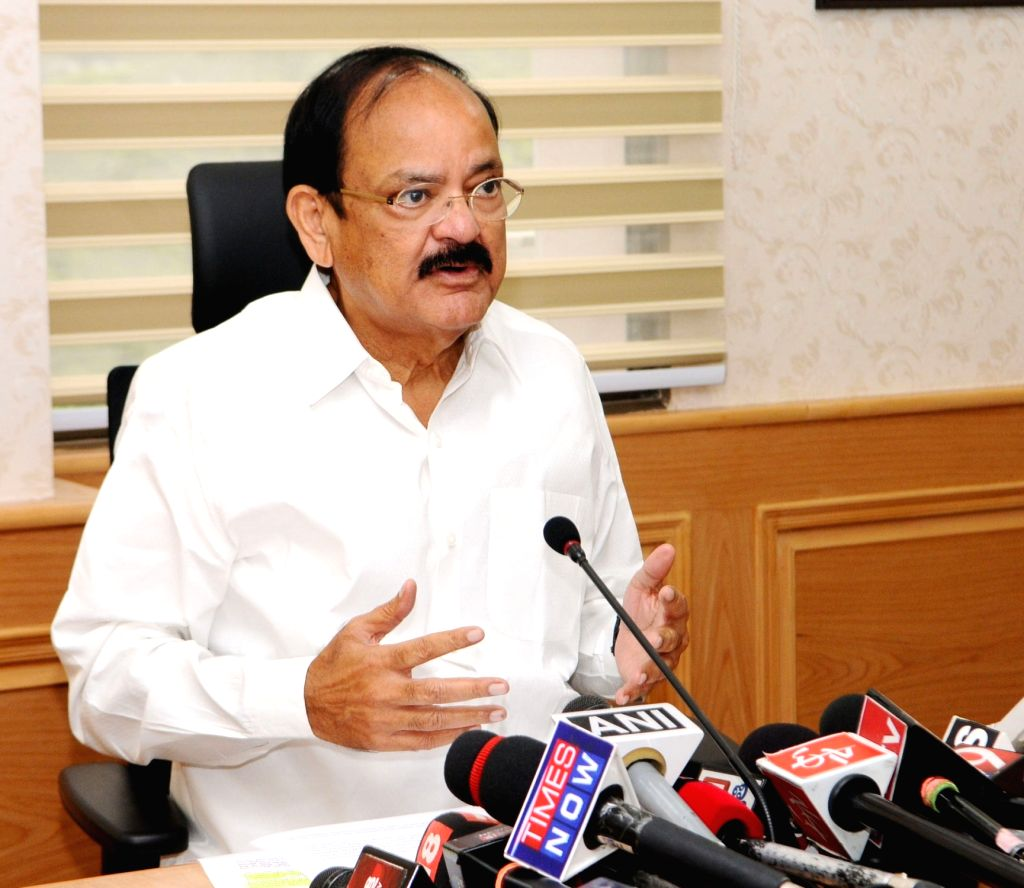 Union Minister for Urban Development, Housing and Urban Poverty Alleviation and Information and Broadcasting M. Venkaiah Naidu interacts with the media on GST, in New Delhi on July 07, ... - M. Venkaiah Naidu