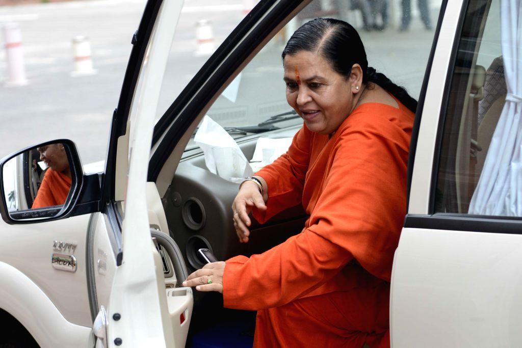 Union Minister for Water Resources, River Development and Ganga Rejuvenation Uma Bharti at the Parliament in New Delhi, on Aug 11, 2015.