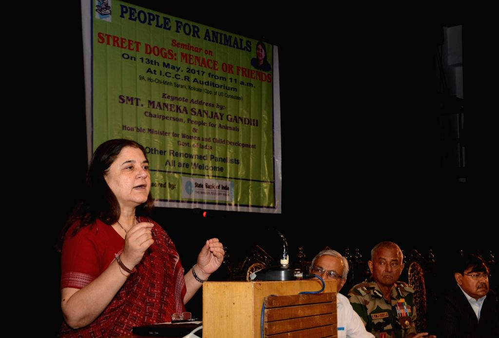 "Union Minister for Woman and Child Development and People for Animals (PFA) chairman Maneka Gandhi addressing a program on ""Street Dogs: Manace or Friends"" in Kolkata on May 13, ... - Maneka Gandhi"