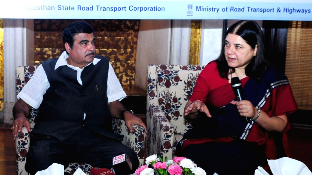 Union Minister for Women and Child Development Maneka Gandhi addresses at the dedication ceremony of buses with safety measures for women under Nirbhaya Scheme to the public, in New Delhi ... - Development Maneka Gandhi