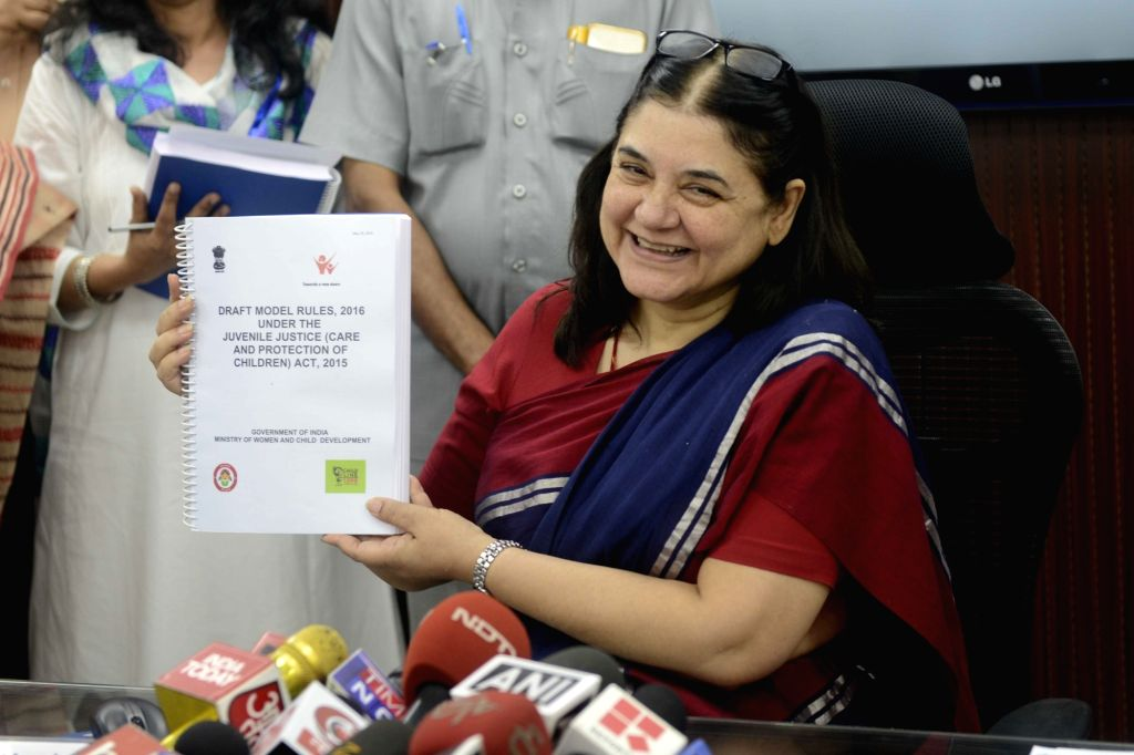 Union Minister for Women and Child Development Maneka Gandhi releases draft rules of Juvenile Justice (Care and Protection of Children) Act, 2015 (JJ Act, 2015) in New Delhi, on May 25, ... - Development Maneka Gandhi