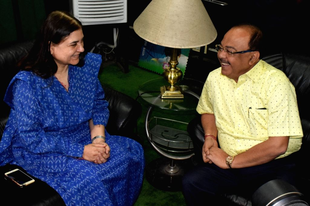 Union Minister for Women and Child Development Maneka Gandhi calls on Kolkata Mayor Sovan Chatterjee in Kolkata on June 19, 2017. - Development Maneka Gandhi and Mayor Sovan Chatterjee