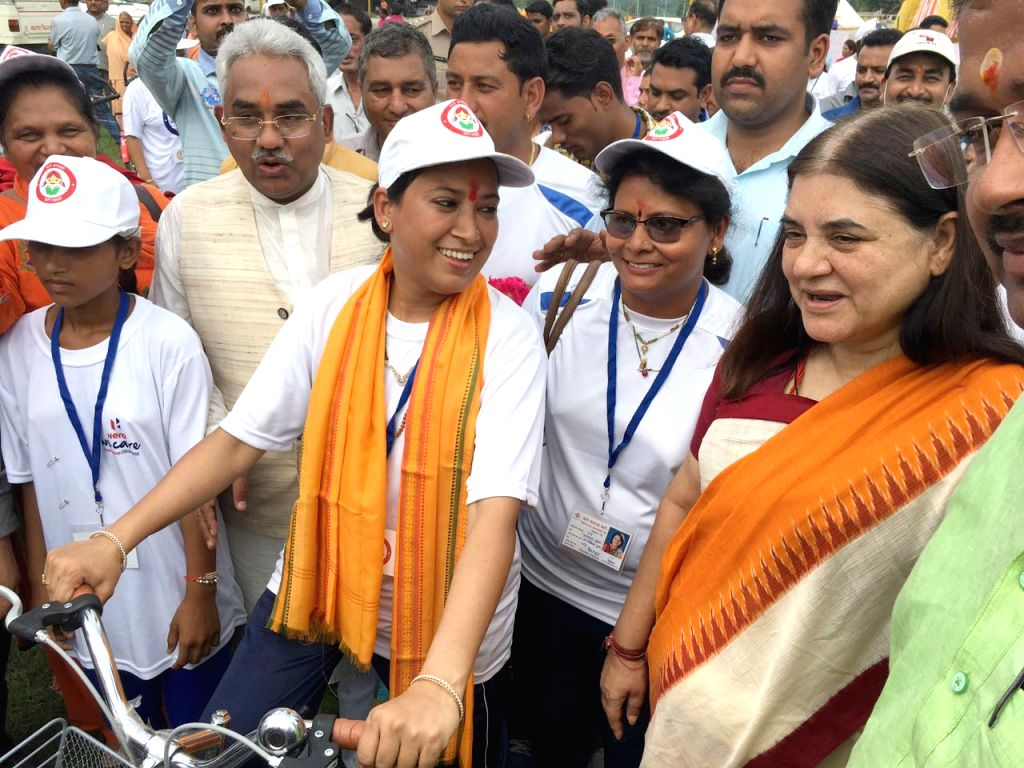 Union Minister for Women and Child Development Maneka Gandhi receives the cycle rally carrying the message of Beti Bachao Beti Padhao, the cycle rally from Dehradun to Haridwar led by the ... - Rekha and Development Maneka Gandhi