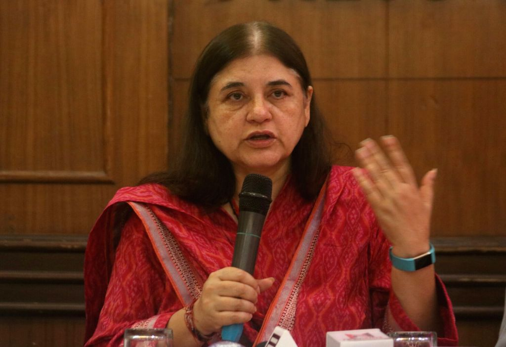"""Union Minister for Women and Child Development Maneka Gandhi release CD of """"The Evidence - Meat Kills"""", a documentary directed by Mayank Jain in New Delhi on Sept 18, 2017. - Development Maneka Gandhi and Mayank Jain"""