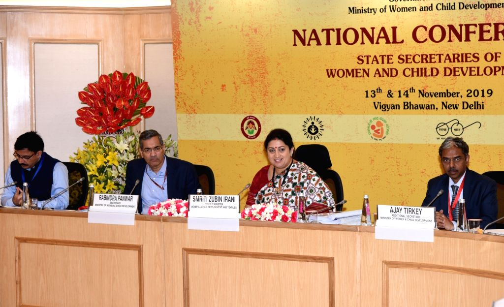 Union Minister for Women & Child Development and Textiles Smriti Irani chairs the National Conference of State Women & Child Development Secretaries, in New Delhi on Nov 13, 2019. ... - Smriti Irani
